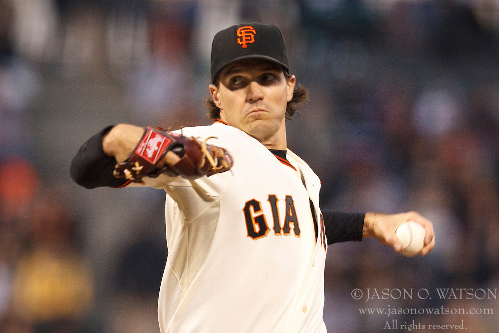 September 14, 2010; San Francisco, CA, USA;  San Francisco Giants starting pitcher Barry Zito (75) pitches against the Los Angeles Dodgers during the first inning at AT&T Park.