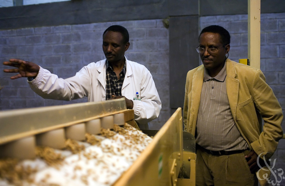 Ethiopia's Director General of the Ethiopian Intellectual Property Office, Getachew Mengestie (r) tours the Keffa Export Coffee Processing Plant February 22, 2007 in Addis Ababa. Mengestie has lead the fight to trademark Ethiopian regional coffees such as Sidamo, Harar, and Yirgacheffe in an effort to protect their brand value and to raise the average market prices that Ethiopian farmers receive for their crop.