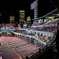 Attendees of a private event at Fenway Park take in the view.