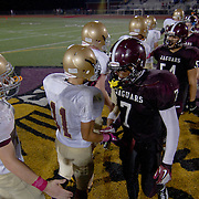 10/05/12 - Middletown, DE - Appoquinimink Football - St. Elizabeth and Appoquinimink shake hands at midfield after the game Friday, Oct. 05, 2012, at Appoquinimink High School in Middletown DE. ..SAQUAN STIMPSON/Special to The News Journal