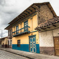 Old classic spanish architecture and cobble stone streets of Cuenca, Ecuador.