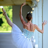Connecticut Ballet ballerina in colorful tutu dancing at Parmelee Farm.