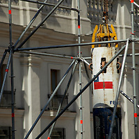 South America, Chile, Santiago. Chilean Miners Rescue Capsule on pubic display at Palacio de La Moneda.