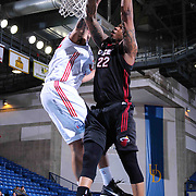 Sioux Falls Skyforce Forward Shawn Jones (22) attempts to dunks the ball as Delaware 87ers Forward Drew Gordon (32) block the shot in the Second half of a NBA D-league regular season basketball game between the Delaware 87ers and the Sioux Falls Skyforce (Miami Heat) Tuesday, Jan. 27, 2015 at The Bob Carpenter Sports Convocation Center in Newark, DEL