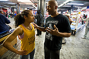 Gleason's Gym, Dumbo, Brooklyn, New York.Boxer Lisa Marie West (24) 101 pounds with her trainer Lennard R. Jackson before the Golden Gloves boxing competition...