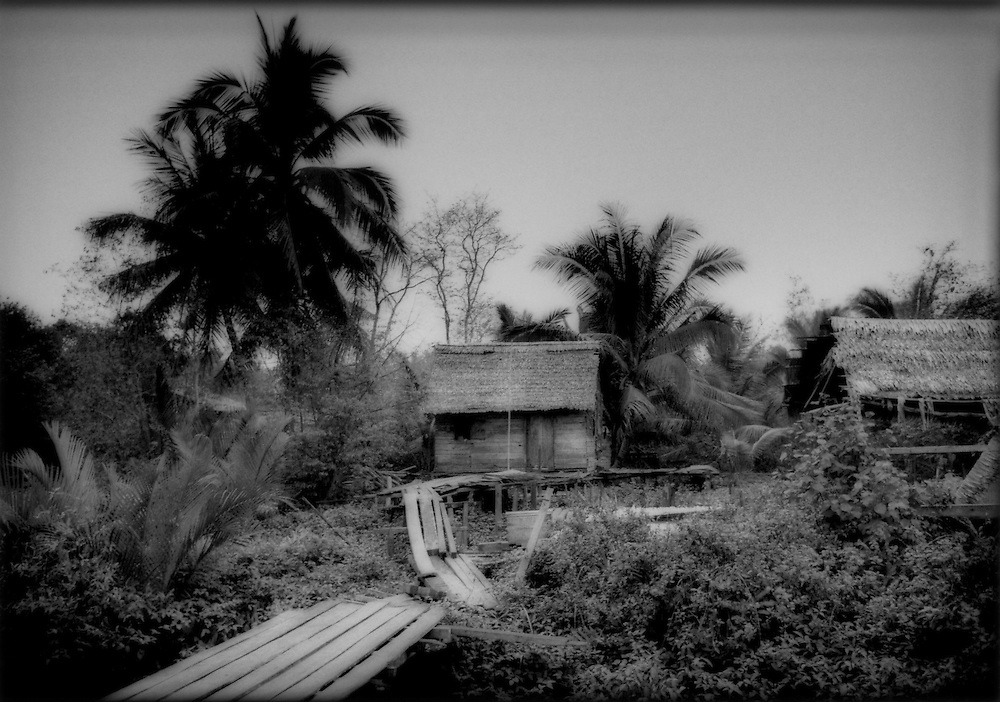 Rudimentary settlement built over a mangrove wetland where Indonesians from more crowded islands like Java, Madura or Sulawesi come to find opportunity on Borneo, Telok Melano, West Kalimantan, Indonesian Borneo.