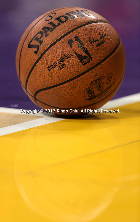 A basketball is seen on the court during an NBA basketball game between Los Angeles Lakers and Milwaukee Bucks, Friday, March 17, 2017.(Photo by Ringo Chiu/PHOTOFORMULA.com)<br /> <br /> Usage Notes: This content is intended for editorial use only. For other uses, additional clearances may be required.