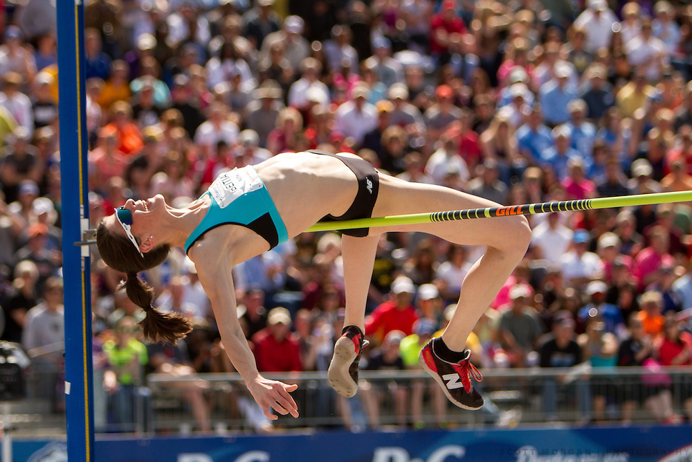 New Balance athlete Ruth Beitia attempts to clear the bar in the high jump Saturday, April 27, 2013, during the Drake Relays in Des Moines..Photo by Scott Morgan 2013