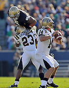 Linebacker Manti Te'o (5) attempts to put pressure on Broncos quarterback Alex Carder in the 2010 home win.