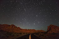 Road Through Valley of Fire State Park at Night, Nevada