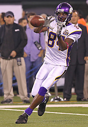 Oct 11, 2010; East Rutherford, NJ, USA; Minnesota Vikings wide receiver Randy Moss (84) catches a pass during the pre-game warmup before their game against the New York Jets at the New Meadowlands Stadium.