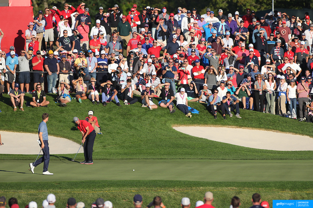 Ryder Cup 2016. Day One. Matt Kuchar of the United States putting on the sixteenth hole in the Friday afternoon four-ball competition during the Ryder Cup at  Hazeltine National Golf Club on September 30, 2016 in Chaska, Minnesota.  (Photo by Tim Clayton/Corbis via Getty Images)