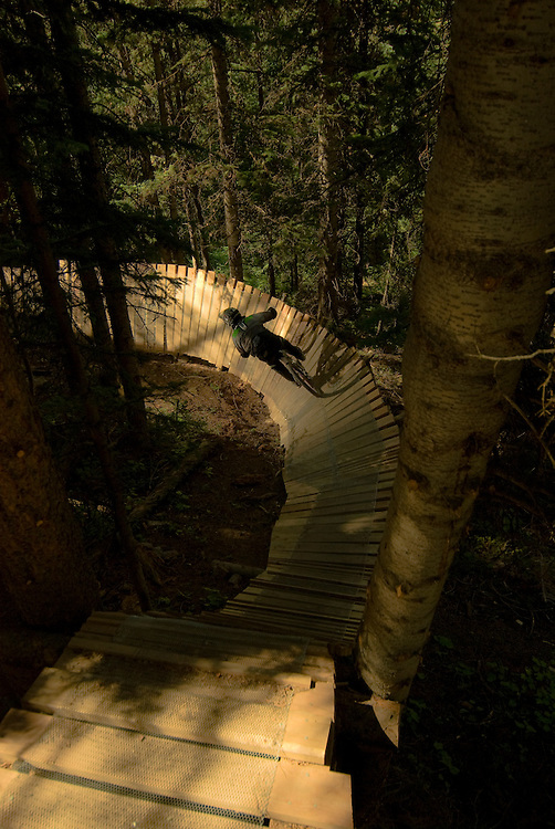 Flowing through ladders and shadows on the Psycho Rocks Trail at Crested Butte Mountain Resort.