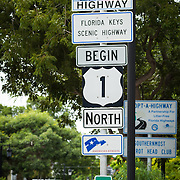 USA, Florida, Key West. Mile marker zero at the beginning of U.S. Route 1.