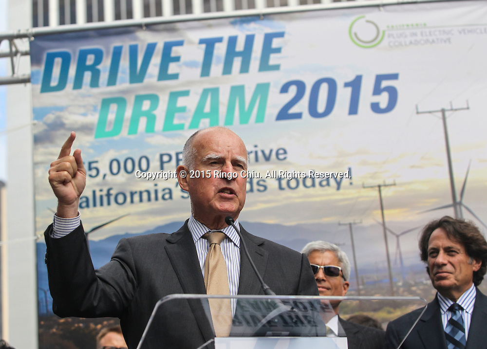 California Gov. Jerry Brown speaks in Drive the Dream 2015 event at Creative Artists Agency in Los Angeles October 15, 2015.  (Photo by Ringo Chiu/PHOTOFORMULA.com)