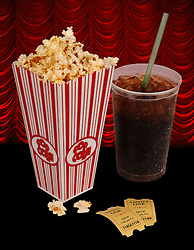 Popcorn, soda, & tickets isolated on black