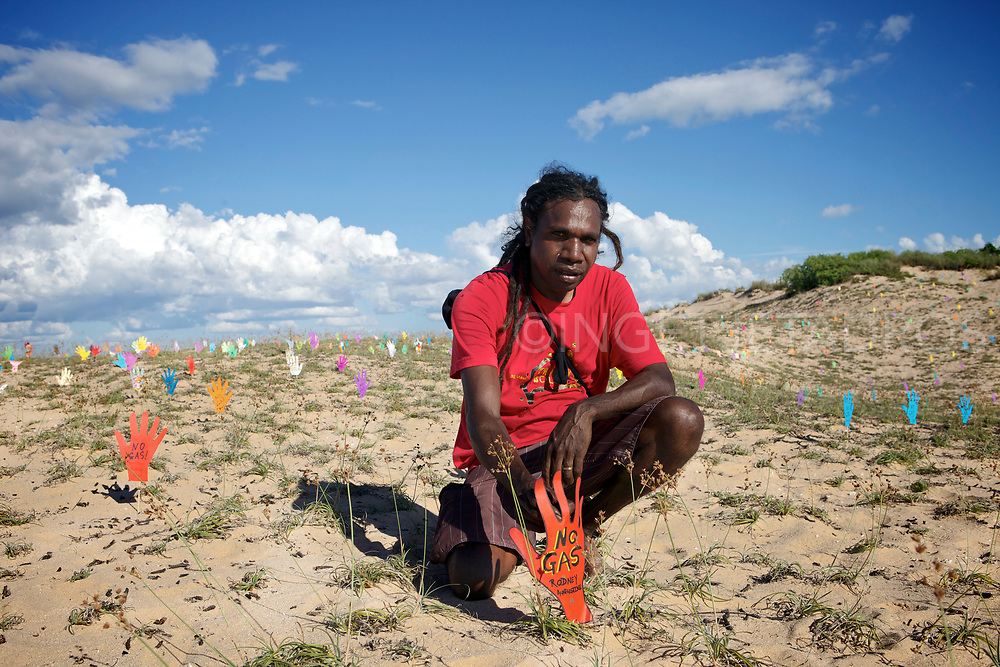 Rodney Augustine had a calling for this event from his ancestors in support for Country.  People around the world were asked to send a cut out hand with a no gas message to Broome. People from all over the world sent in &lsquo;signed hand&rsquo;s&rsquo; which where placed in the sand dunes at Walmadan. ( Walmadan is the traditional name of James Price Point.)<br /> Broome, the only town to escape the White Australia Policy, Broome has been a bohemian melting pot. Broome fears future as the next Dubai. For environmentalists across the nation, Broome is rapidly shaping as the new frontier, a potential flashpoint of conflicting commonwealth and state ambitions.  The gas hub protest will be one of the largest co-ordinated national campaigns in the past 20 years. &quot;We are going to throw everything including the kitchen sink to stop this divisive and inappropriate proposal&quot;. Broome, WA