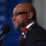 Martin Wilson, Sr from the Board of Education addresses students and family during McKean 55th commencement exercises Saturday, June 06, 2015, at The Bob Carpenter Sports Convocation Center in Newark, Delaware.