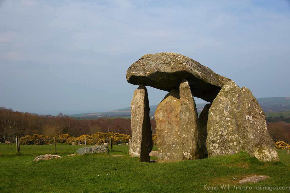 Europe, UK, Wales, Newport. Pentre Ifan Cromlech, a well-preserved ancient burial chamber (dolmen).