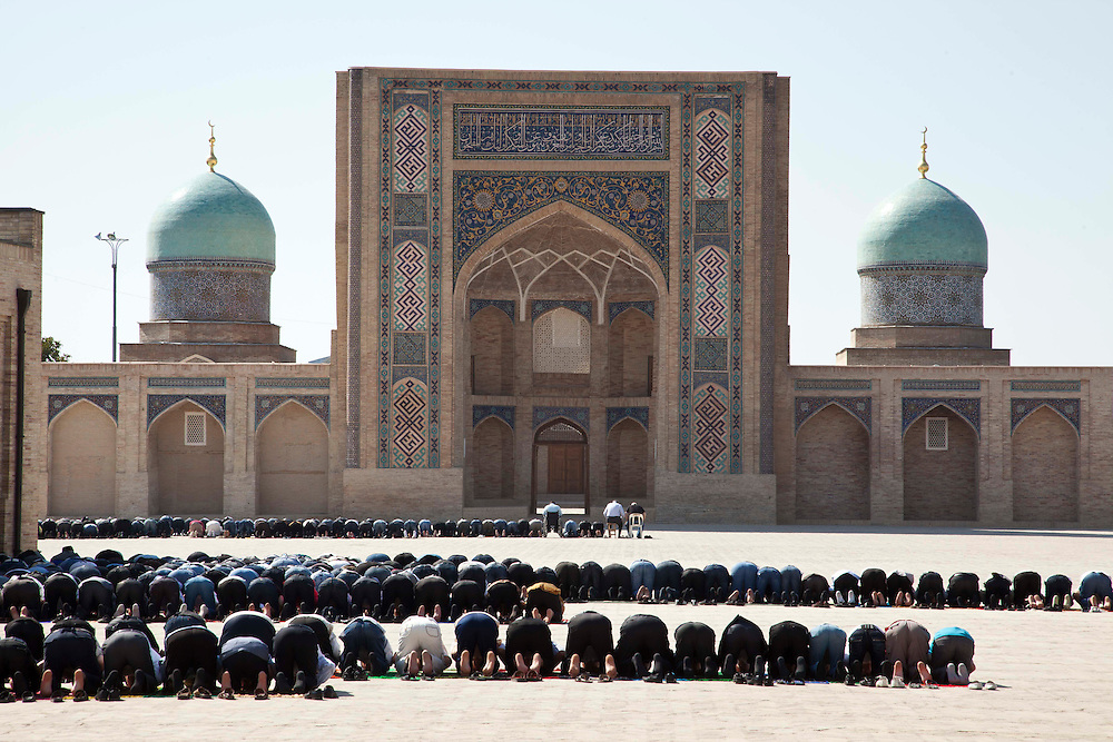 People gather and pray at Hazrati Imam complex which has one of the oldest original Quran in Tashkent, Uzbekistan.