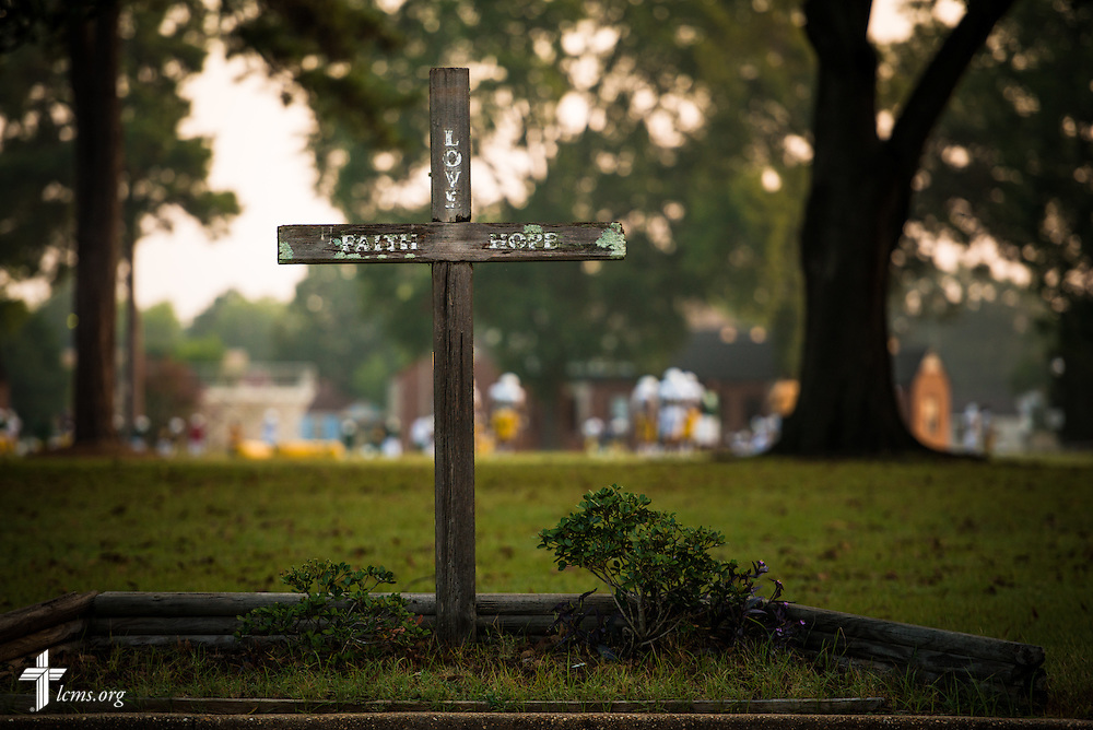 A wooden cross punctuates the landscape at Concordia College Alabama on Wednesday, August 20, 2014, in Selma, Ala.  LCMS Communications/Erik M. Lunsford