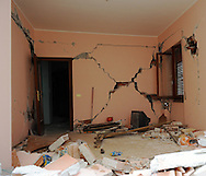 The remains of a living room