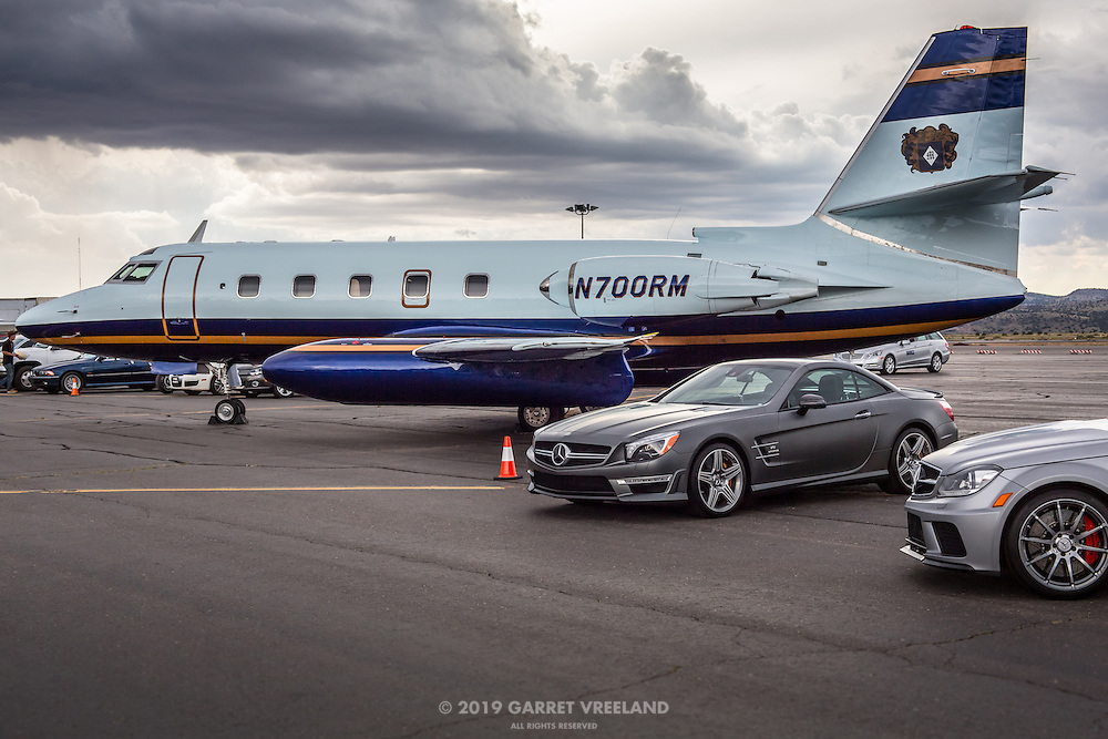 New Mercedes SL, C, and the vintage corporate jet.