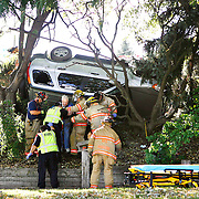 """Paramedics and firefighters help a man out of his car on Tuesday after he crashed through a fence and rolled into trees in the backyard of 2215 S. Garfield St. in Kennewick while driving northbound on Garfield Street. Witness Kimberly Cantley of Kennewick was driving southbound and said the car """"veered"""" off the road. The driver, whose name was not available, was taken to the hospital."""