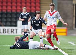 Falkirk's Jay Fulton, Falkirk's Stewart Murdoch  and Airdrie United's Steven Hetherington..half time : Airdrie United 0 v  0 Falkirk, 30/3/2013..©Michael Schofield..