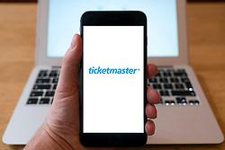 Ticketmaster online ticket selling website logo on smart phone