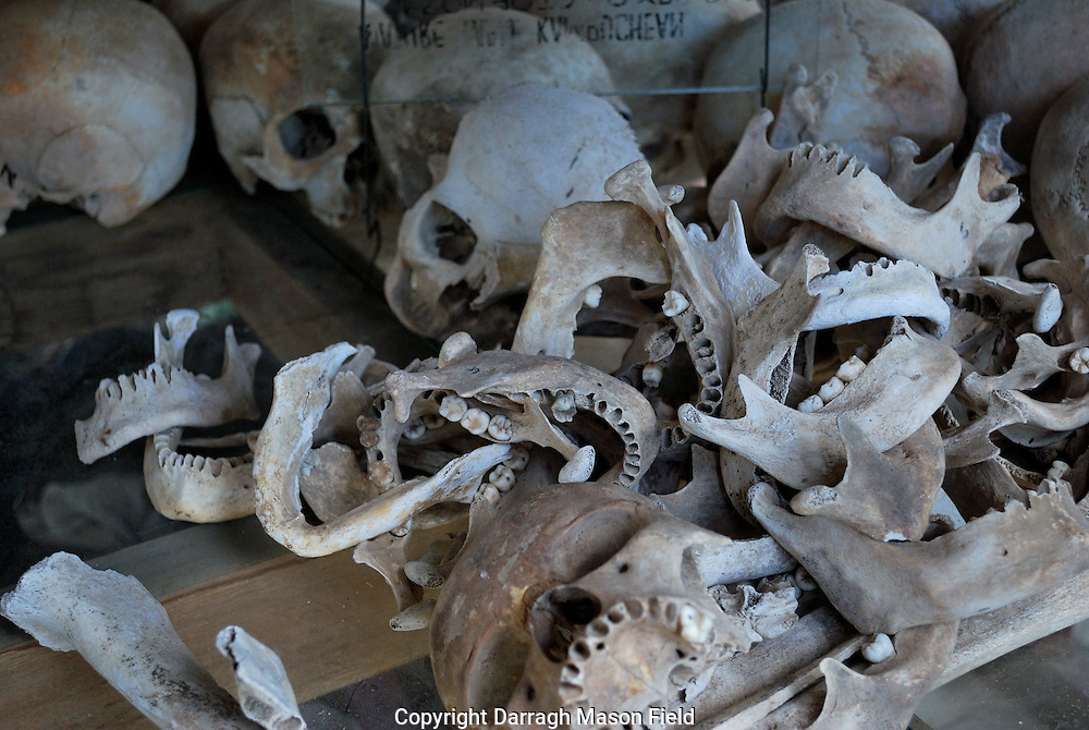 Skulls and jaw bones of young adults, victims of the Khmer Rouge