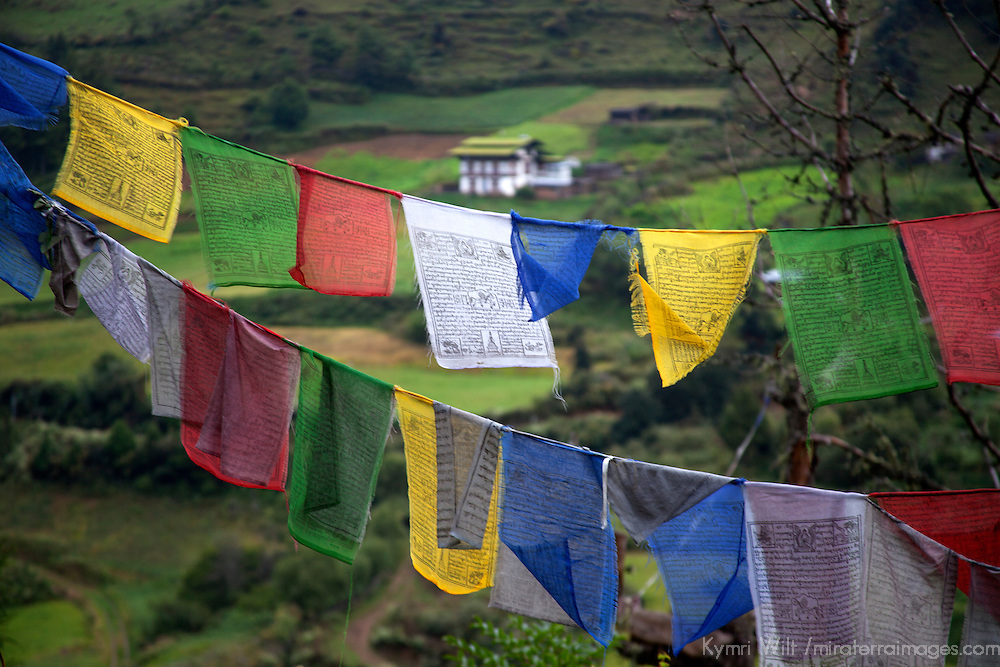Asia, Bhutan, Trongsa. Landscape and prayer flags scene of Bhutan.