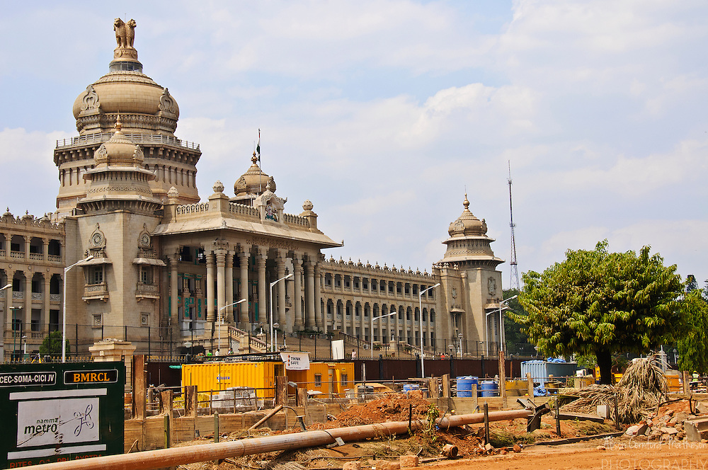 Construction of the new metro system in front of The Vidhana Soudha, home to the Karnataka Legislature in Bangalore, India