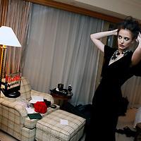 BEIJING, JANUARY-29: Eva Green checks her wardrobe before the premiere of Casino Royale in Beijing.