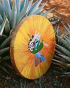 0176-1014 ~ Copyright: George H. H. Huey ~ Ceremonial Hopi Indian drum with eagle kachina painting, amidst agave plants. Sedona, Arizona.