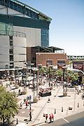 Fans outside Chase Field in downtown Phoenix before an Arizona Diamondbacks home game.