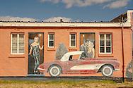 Historic Route 66, Tucumcari, New Mexico, mural, Lauren Bacall, Clark Gable, Marilyn Monroe, 1956 Chevrolet Corvette, Blue Swallow Motel