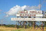 Town sign in Baragua, Ciego de Avila Province, Cuba.