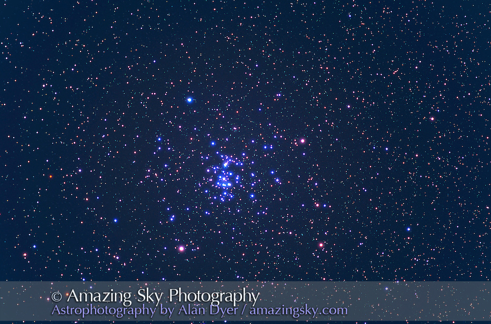 M44 star cluster in Cancer<br /> Field of View similar to binoculars (7&deg; wide)<br /> January 2000, from Home<br /> 180mm Lens at f/2.8<br /> Ektachrome 200 slide film<br /> 10 minute exposure<br /> Single exposure, with Glow Layer flattened<br /> Sky tinted blue for contrast<br /> Lens has vignetting, thus the dark corners