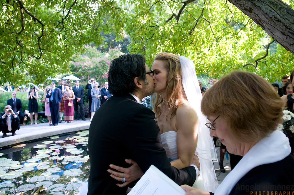 Tessa and Tae are married in a wedding at the Central Park Conservancy Conservatory Garden and a reception at The Water Club in New York City on September 9, 2009.