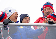 27-2-2014 - FALUN Princess Estelle and princess Victoria , prince Carl Philip and king Carl Gustaf and Queen Silvia  and Crown Prince Haakon and Crown Princess Mette-Marit and Princess Ingrid Alexandra and Prince Sverre Magnus of Norway  during Falun 2015 FIS Nordic World Ski Championships 2015 in Sweden . COPYRIGHT ROBIN UTRECHT