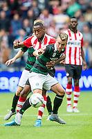 EINDHOVEN - PSV - FC Groningen , Voetbal , Seizoen 2015/2016 , Eredivisie , Philips stadion , 16-08-2015 , PSV speler Joshua Brenet (l) in duel met FC Groningen speler Albert Rusnak (r)