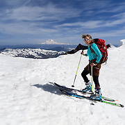 WA11853-00...WASHINGTON - Vicky Spring skiing at the summit of Mount St Helens in Mount St Helens National Volcanic Monument.  (MR# S1)
