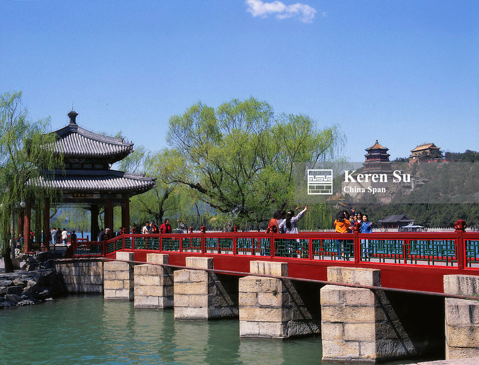 Bridge and pavilions with Kunming Lake in Summer Palace, Beijing, China