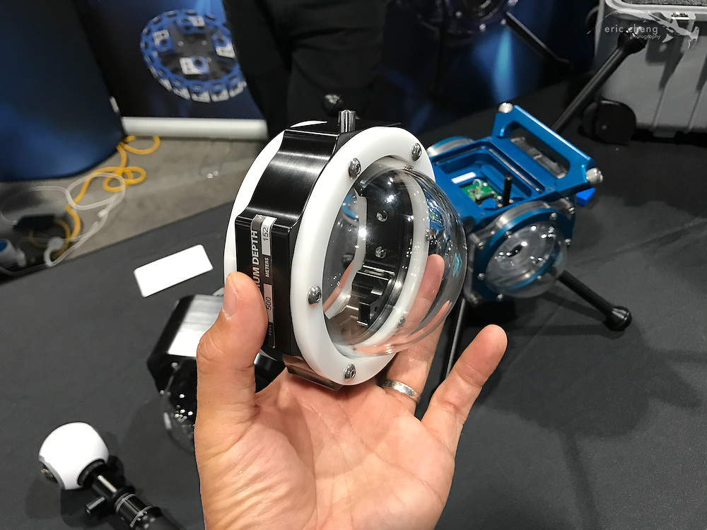 Prototype underwater housing for Samsung Gear 360 by 360RISE (DEMA 2016, Las Vegas)