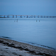 CAPE CHARLES, VA - JUNE 20: The Chesapeake Bay Bridge Tunnel is pictured as the sun sets over the Chesapeake Bay on Friday, June 20th, 2014 near Cape Charles, Va. (Photo by Jay Westcott/For The Washington Post)