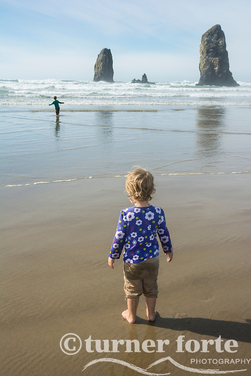 From the shoreline, toddler girl watches her brother test the cold ocean waves, Cannon Beach, Oregon.