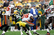 Tampa's Will Allen intercepts a Brett Favre pass intended for Donald Driver in the 4th quarter. .The Green Bay Packers hosted the Tampa Bay Buccaneers at Lambeau Field Sunday September 25, 2005. Steve Apps-State Journal.