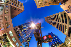 Downtown Kansas City fisheye lens photo at 11th and Main looking up, Saturday January 5, 2013.