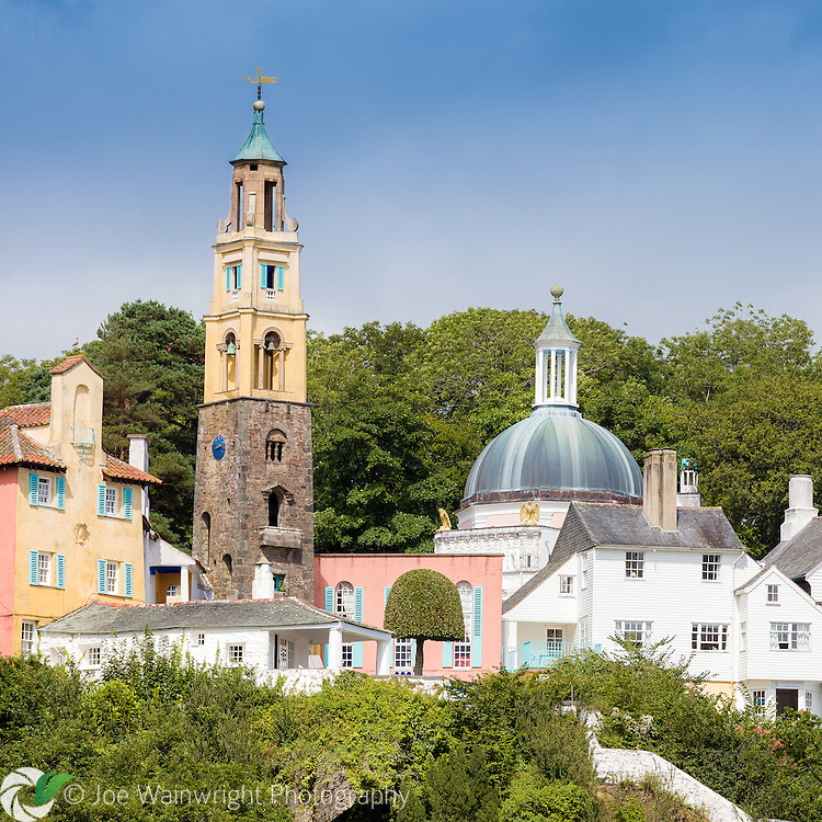 The Campanile and Pantheon rise above the rest of the Italianate village of Portmeirion, Gwynedd, North Wales.